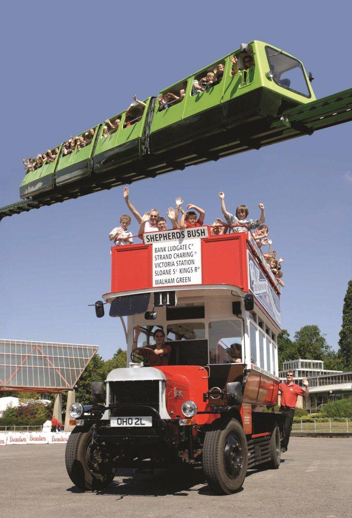 Beaulieu bus and monorail. Copyright: Beaulieu National Motor Museum